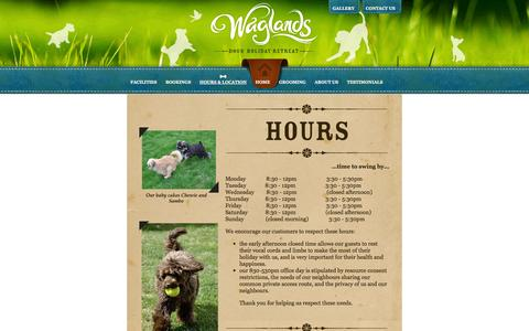 Screenshot of Hours Page waglands.co.nz - Waglands  - Hours & Location - captured Nov. 3, 2014