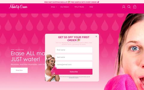Screenshot of Home Page makeuperaser.com - The Original MakeUp Eraser | Erase ALL Makeup With Just Water - captured July 15, 2019