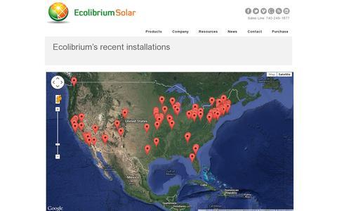 Screenshot of Maps & Directions Page ecolibriumsolar.com - Ecolibrium Solar Installs Map | Ecolibrium Solar - captured July 19, 2014