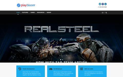 Screenshot of Home Page playblazer.com - Playblazer | Pre-built Game Server for your Social & Multiplayer Games - captured Sept. 20, 2015