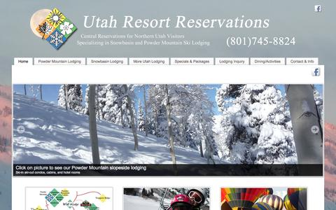 Screenshot of Home Page utahresortreservations.com - Utah Resort Reservations - Central Reservations for Snowbasin and Powder Mountain Ski Lodging - captured Oct. 7, 2014
