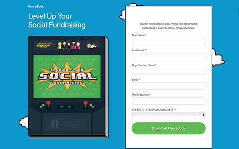 Screenshot of Landing Page qgiv.com - Free Social Fundraising eBook   Qgiv - captured March 14, 2018