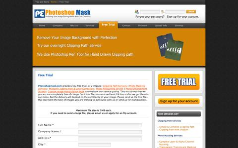 Screenshot of Trial Page photoshopmask.com - Photoshop image masking, Clipping Path Service, background knockout Service Online at Competitive Price - captured Sept. 29, 2014