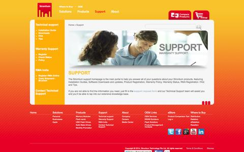 Screenshot of Support Page strontium.biz - Support | Strontium - captured Sept. 24, 2014