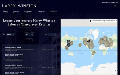 Screenshot of Locations Page harrywinston.com - Store Locator | Salon Locations | Harry Winston - captured Nov. 4, 2018