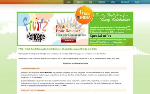 Screenshot of FAQ Page fruitzkoncepts.com - Fruitz Koncepts India FAQ - Frequently Asked Questions | Fresh Fruit Bouquets | Fruit Baskets | Fresh Fruit Arranagements - captured Feb. 10, 2016