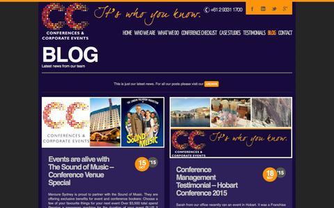 Screenshot of Blog ccconferences.com.au - blog - CC Conferences Organisers Sydney - captured Jan. 24, 2016