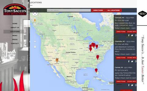 Screenshot of Locations Page tonysaccos.com - Locations - Tony Saccos Coal Oven Pizza - captured Nov. 4, 2014