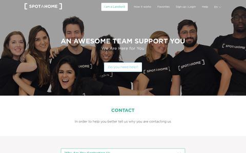 Screenshot of Contact Page spotahome.com - Contact us | Spotahome - captured Aug. 4, 2018