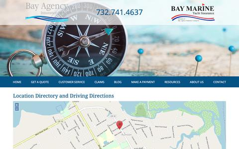 Screenshot of Locations Page bayagency.net - Bay Agency Insurance Group Locations and Driving Directions - captured Nov. 13, 2018