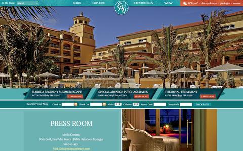 Screenshot of Press Page eaupalmbeach.com - Press Room   Eau Palm Beach Resort & Spa - captured Oct. 1, 2014