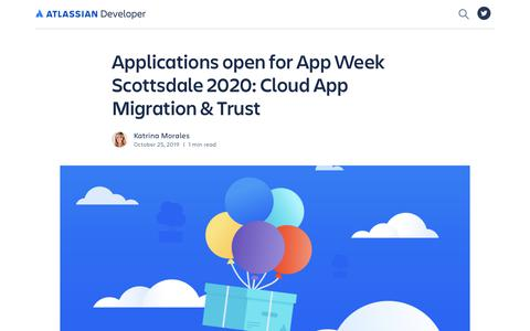 Screenshot of Developers Page atlassian.com - Applications open for App Week Scottsdale 2020: Cloud App Migration & Trust - Atlassian Developer Blog - captured Feb. 8, 2020