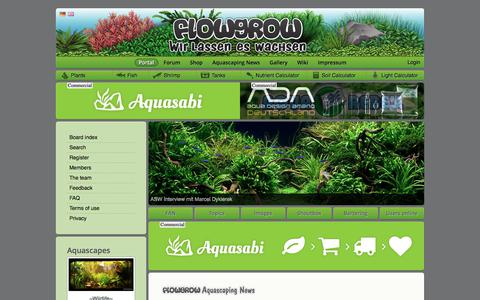 Screenshot of Home Page flowgrow.de - Portal - Aquascaping - Aquarium - Wasserpflanzen - Flowgrow - captured Oct. 26, 2017