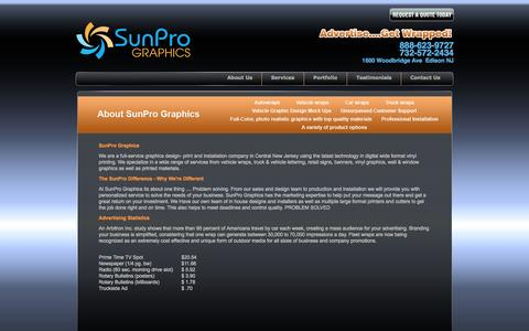 Screenshot of About Page sunprographics.com - About Us - captured Oct. 8, 2014