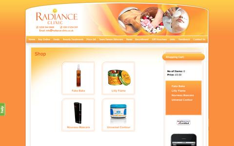 Screenshot of Products Page radiance-clinic.co.uk - Radiance Clinic - captured July 8, 2016
