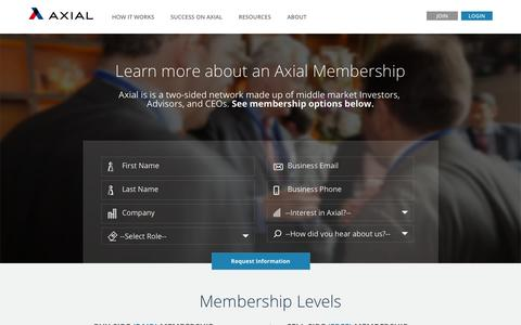 Screenshot of Signup Page axial.net - Learn more about an Axial Membership - captured Nov. 24, 2016