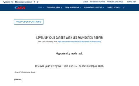 Screenshot of Jobs Page jeswork.com - CAREERS - captured Feb. 22, 2020