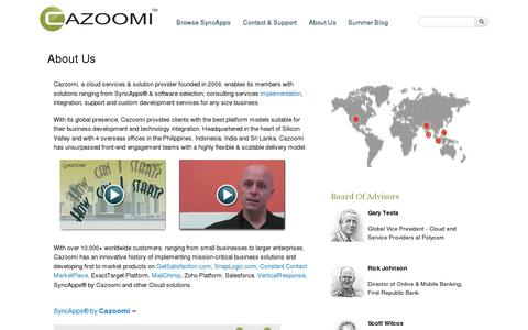 Screenshot of About Page cazoomi.com - About Us | Cloud services and data integration software from Cazoomi - captured July 19, 2014