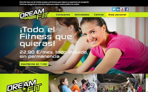 Screenshot of Home Page dreamfit.es - Gimnasios low cost en Madrid, Zaragoza y Castellón | DreamFit - captured Sept. 30, 2014
