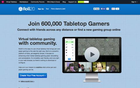 Screenshot of Home Page roll20.net - Roll20: Web-based online virtual tabletop for all roleplaying games (RPGs) - captured Sept. 17, 2014