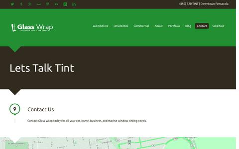 Screenshot of Contact Page glasswrap.com - Glass Wrap | Contact | Pensacola, FL - captured Oct. 2, 2014