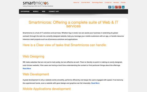 Screenshot of Services Page Site Map Page smartmicros.com - Services - captured Feb. 22, 2016