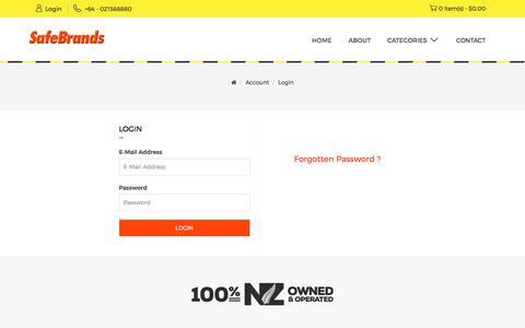 Screenshot of Login Page safebrands.net - Account Login - captured Sept. 28, 2017