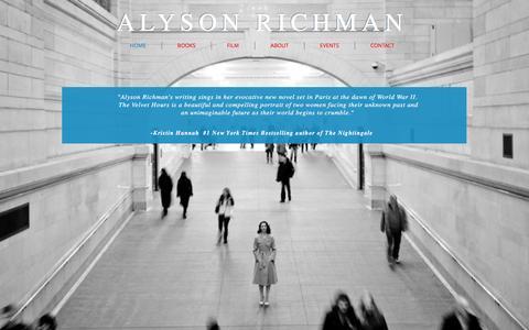 Screenshot of Home Page alysonrichman.com - ALYSON RICHMAN - captured May 1, 2016