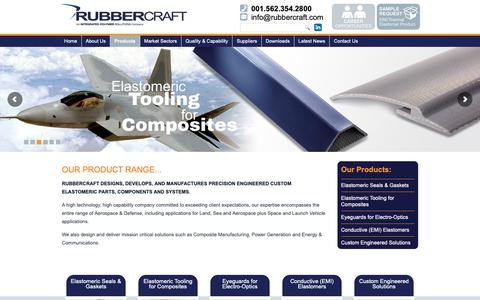 Screenshot of Products Page rubbercraft.com - Products - Elastomeric Parts, Components and Systems - Rubbercraft - captured Nov. 7, 2018