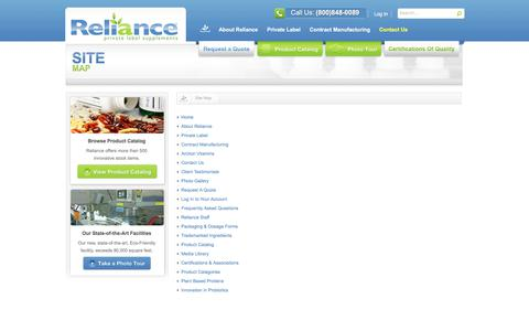 Screenshot of Site Map Page reliancevitamin.com - Site map  |  Reliance Private Label Supplements - captured Sept. 27, 2019