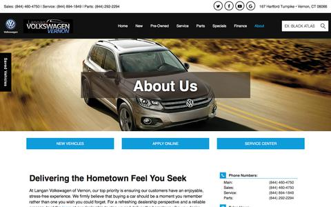 Screenshot of About Page langanvernonvw.com - Volkswagen and Used Car Dealer | Langan Volkswagen of Vernon - captured July 15, 2017