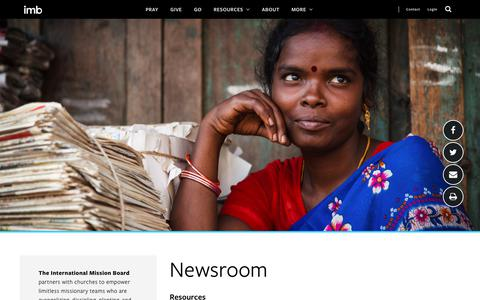 Screenshot of Press Page imb.org - Newsroom - International Mission Board - captured June 12, 2019