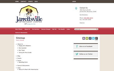 Screenshot of Site Map Page jarrettsvillevet.com - Sitemap | Jarrettsville Veterinary Center | Jarrettsville, Maryland - captured Oct. 13, 2018