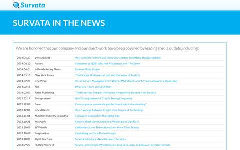 Screenshot of Press Page survata.com - Survata: In the News - captured July 20, 2014