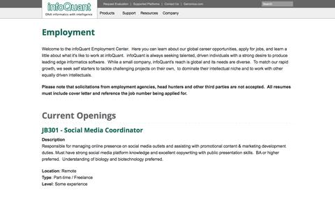 Screenshot of Jobs Page infoquant.com - Employment - captured Sept. 30, 2014