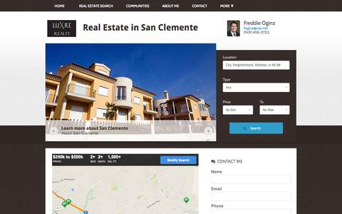 Screenshot of Home Page freddierealestate.com - Real Estate in San Clemente | Buy and Sell with Freddie Oginz - captured Oct. 6, 2014