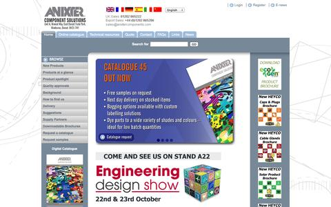 Screenshot of Home Page anixtercomponents.com - Anixter for Plastic Enclosures, Cable Clips, Cable Glands and more - captured Oct. 4, 2014