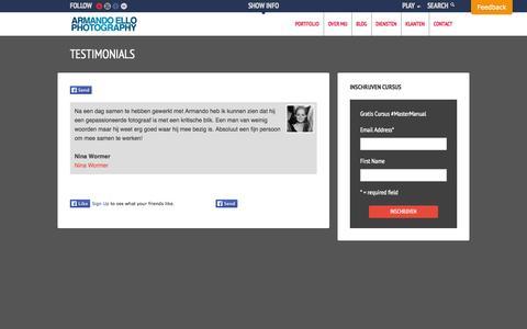 Screenshot of Testimonials Page armando-ello.com - Testimonials | Armando Ello - captured Oct. 4, 2014