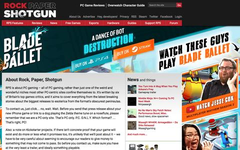 Screenshot of About Page rockpapershotgun.com - About Rock, Paper, Shotgun | Rock, Paper, Shotgun - PC Game Reviews, Previews, Subjectivity - captured Aug. 20, 2016