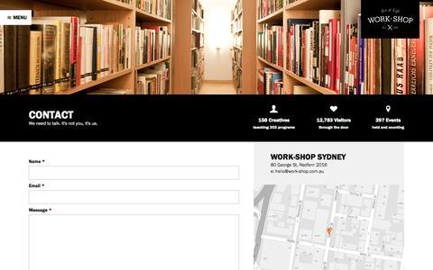 Screenshot of Contact Page work-shop.com.au - Contact - Work-Shop - captured Oct. 7, 2014