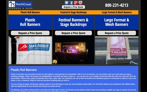 Screenshot of Home Page northcoastbanners.com - NorthCoast Roll Banners | Plastic & Vinyl Roll Banners, Stage Backdrops and Scrims - captured Feb. 2, 2016