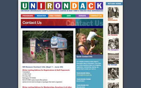 Screenshot of Contact Page unirondack.org - Contact Us   Camp Unirondack - captured July 5, 2017
