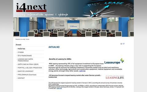 Screenshot of Home Page i4next.hr - i4next leasing Croatia d.o.o. - POČETNA - captured Sept. 7, 2015