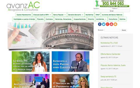 Screenshot of Home Page avanzac.es - Avanzac Abogados » Despacho de abogados en valencia con delegaciones por toda la peninsula donde podrás contactar con el despacho de abogados mas cercano. - captured Oct. 7, 2017