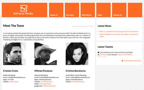 Screenshot of Team Page admiralmedia.com - Meet The Team | Admiral Media - captured Sept. 30, 2014