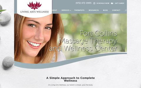 Screenshot of Home Page livingartswellness.com - Fort Collins Massage | Certified Massage Therapists | Colon Cleansing | Colon Hydrotherapy - captured July 20, 2018
