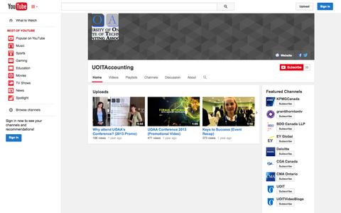 Screenshot of YouTube Page youtube.com - UOITAccounting  - YouTube - captured Oct. 23, 2014