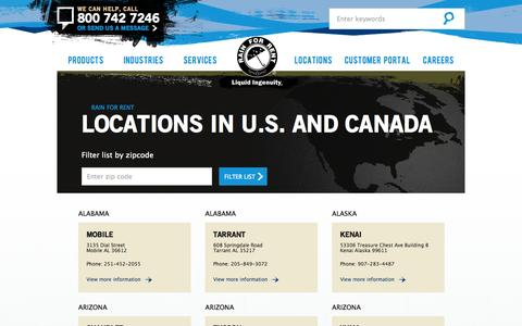 Screenshot of Locations Page rainforrent.com - Locations - Rain for Rent - captured Sept. 30, 2014