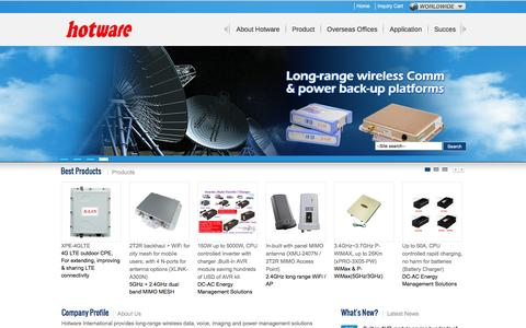 Screenshot of Home Page hotware.com.tw - Long Range WiFi & DC-AC Energy Solutions Manufacturer – HotWare Int'l Co., Ltd. - captured Feb. 1, 2016