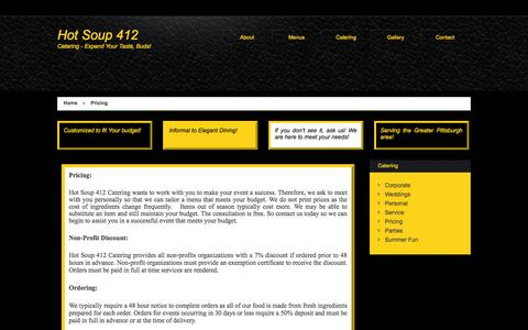 Screenshot of Pricing Page hotsoup412.com - Pricing - Hot Soup 412 - BEST Catering in Pittsburgh - captured Oct. 3, 2014